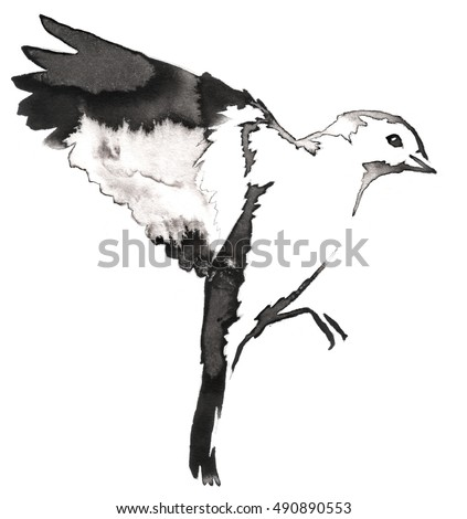 black and white monochrome painting with water and ink draw tit bird illustration - Free Sketches To Paint