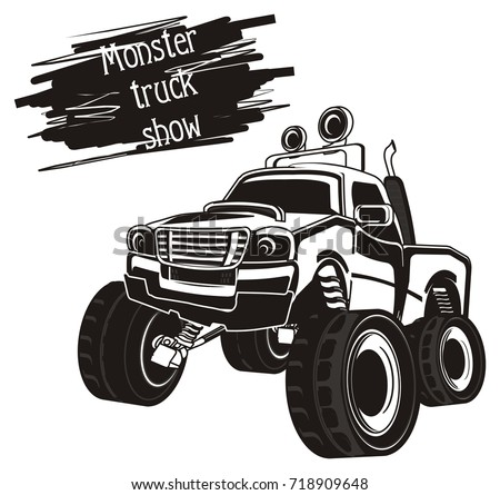 black and white monster truck and black banner with words