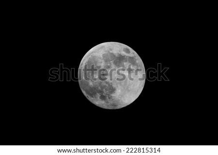 Black and white moon - stock photo