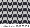 Black and white mosaic wave pattern background. - stock vector