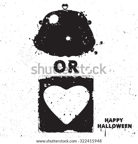 Black and white motivational posters. Vintage purse with calligraphy. Purse and heart shape. Inspirational Halloween typography. Hand drawn typography poster Trick or treat - stock photo