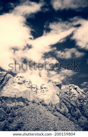 Black and white Mount Rushmore National Memorial - stock photo