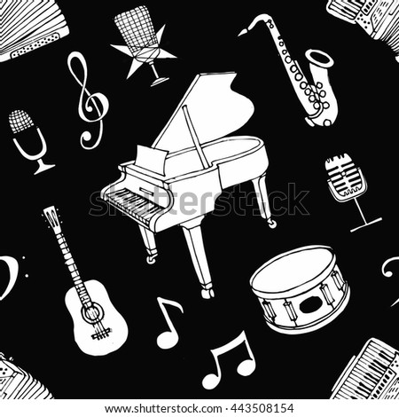 black and white music pattern