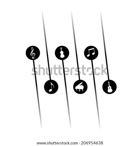 Black and white musical design for Print or Web  - stock photo