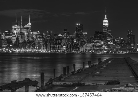 Black and White New York City in the Night