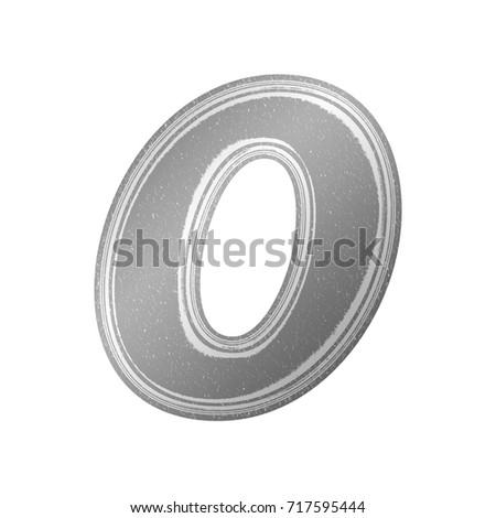 Black and white newsprint style number zero 0 in a an illustration with a gray newspaper effect and paper texture basic bold font isolated on a white background with clipping path.