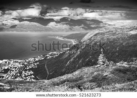 Black and white Norway zen rock towers background hd