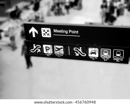 black and white of airport sign. - stock photo