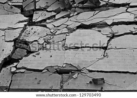 Black and white of broken wall background - stock photo