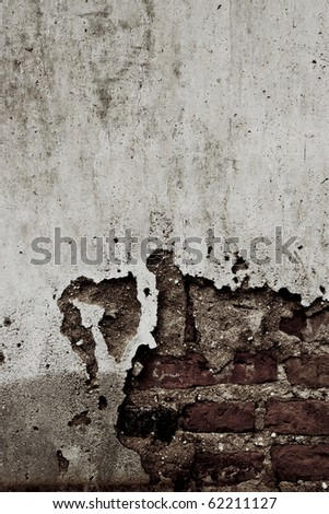 black and white of crack on grunge brick wall - stock photo