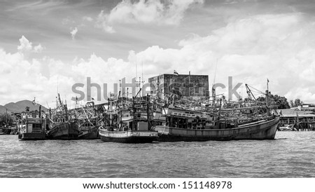 Black and white of Fishing ship in Gulf of Thailand.