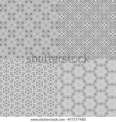 Black and white of Modern pattern design for fabric or interior wallpaper. - pattern collection set