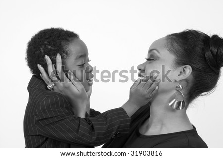 black and white of mother and child playing together