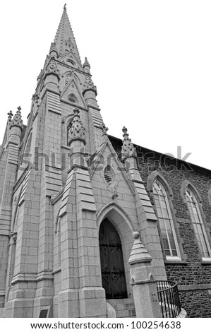 black and white of Saint Mary's Basilica Gothic Revival, granite and ironstone Cathedral in Halifax Nova Scotia, Canada - stock photo