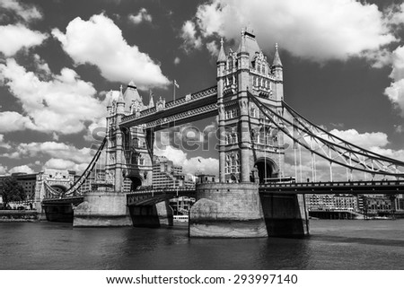 black and white of Tower bridge, the icons of England and London.  - stock photo