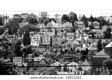 black and white of urban dwelling - rows of houses