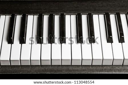 black and white old piano keys - stock photo
