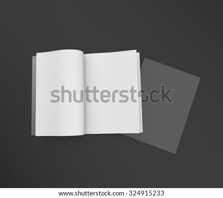 black and white open and closed brochure magazine mockup
