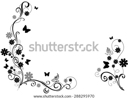 Black and white ornament with flower and butterfly. - stock photo