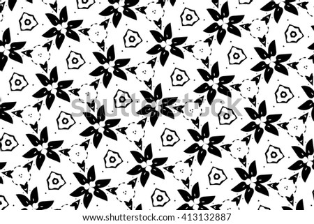 Black-and-white ornament  with patterns and geometric elements. c