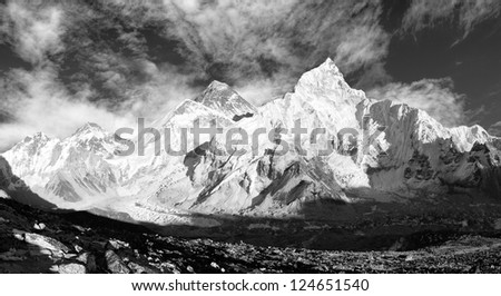 black and white panoramic view of Mount Everest with beautiful sky and Khumbu Glacier - Khumbu valley - Nepal - stock photo