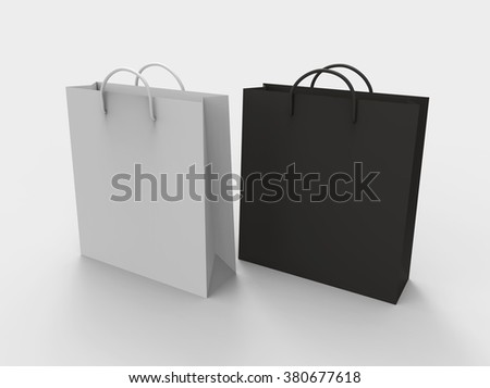 Black and white paper shopping bags, isolated on white background