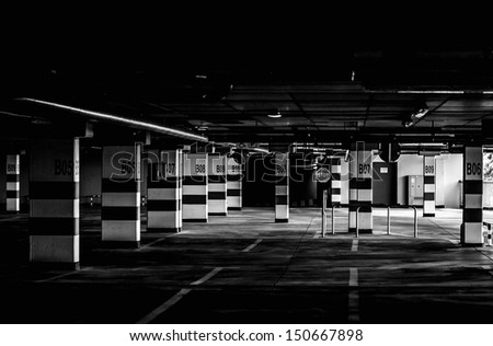black and white parking