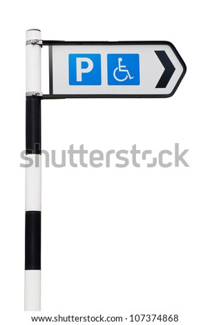 black and white parking sign with reserved wheelchair spaces (isolated on white background) - stock photo