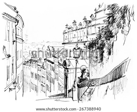 Black and white pen drawing Prague. Mala strana.