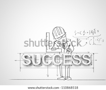 Black and white pencil drawing about success in business - stock photo