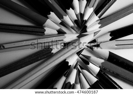 black and white pencils as wallpaper