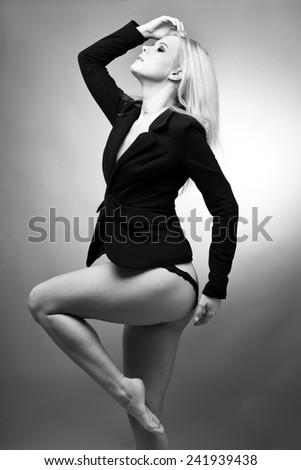 Black and white photo of beautiful woman - stock photo