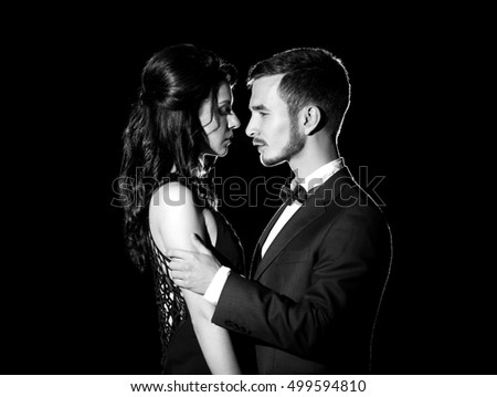 Black-and-white photo of beautiful young couple