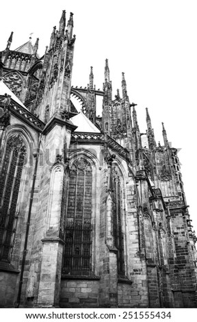 Black and white photo of exterior detail of St Vitus Cathedral in Prague (Praha), Czech Republic