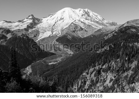 Black and white photo of Mt. Rainier in Washington, USA - stock photo