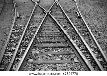 Black and white photo of old railway - stock photo