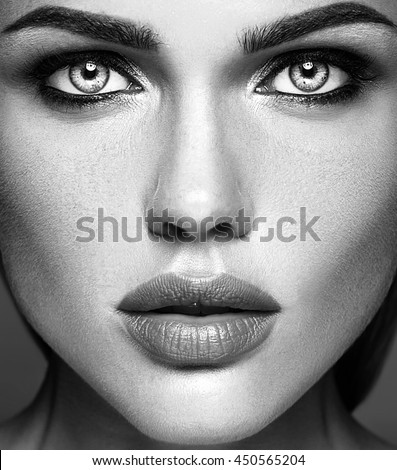 black and white photo of sensual glamour beautiful woman model lady with fresh daily makeup and clean healthy skin face