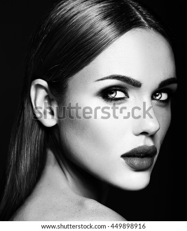 Black and white photo of sensual glamour portrait of beautiful woman model lady with fresh daily
