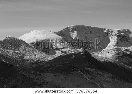Black and white photo of snow-copped mountains, English Lake District