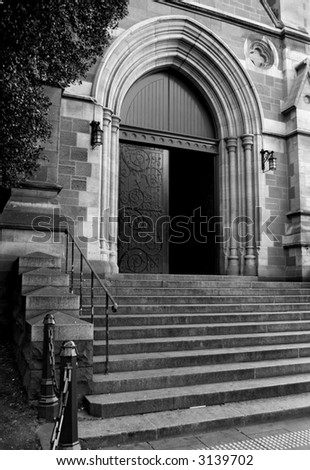 Black and white photo of the church entrance