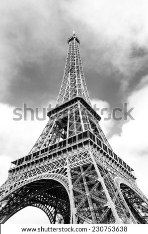 Black and white photo of the Eiffel Tower, Paris, France