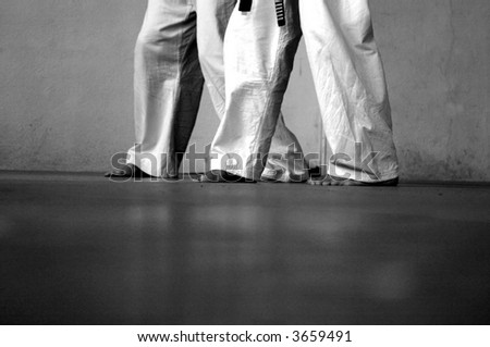 black and white photo of two people practicing martial arts - stock photo