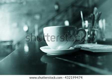 black and white photo restaurant serving - stock photo