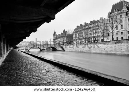 Black and white photo with Sena from Paris - stock photo