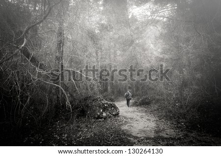 black and white photograph of a hiker walking through the fog in a forest