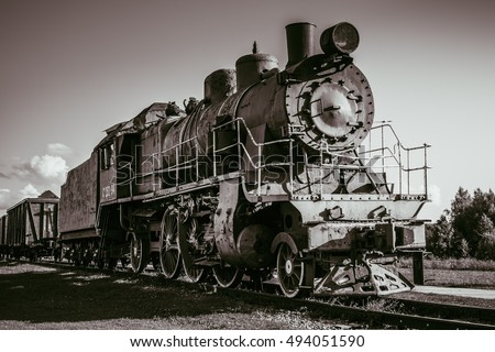 Black and white photography of the old steam train, Estonia, Haapsala