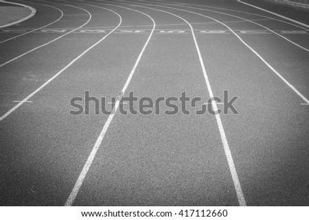 black and white photos.Running track for the athletes background