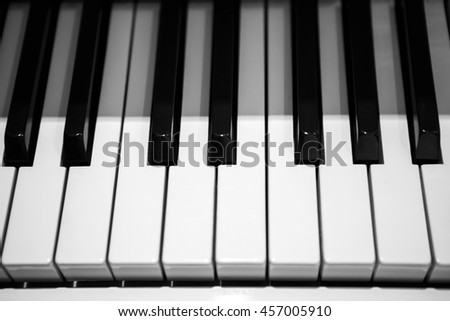 Black and white piano keys. Musical keyboard instrument. Perfect equipment to extract the sounds. Classical music.  - stock photo