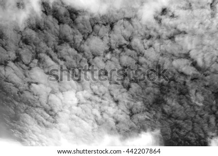 Black and white picture. Abstract of cloudscape in the sky. - stock photo