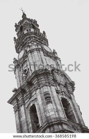 Black and white picture of the Clerigos church tower in Porto. - stock photo